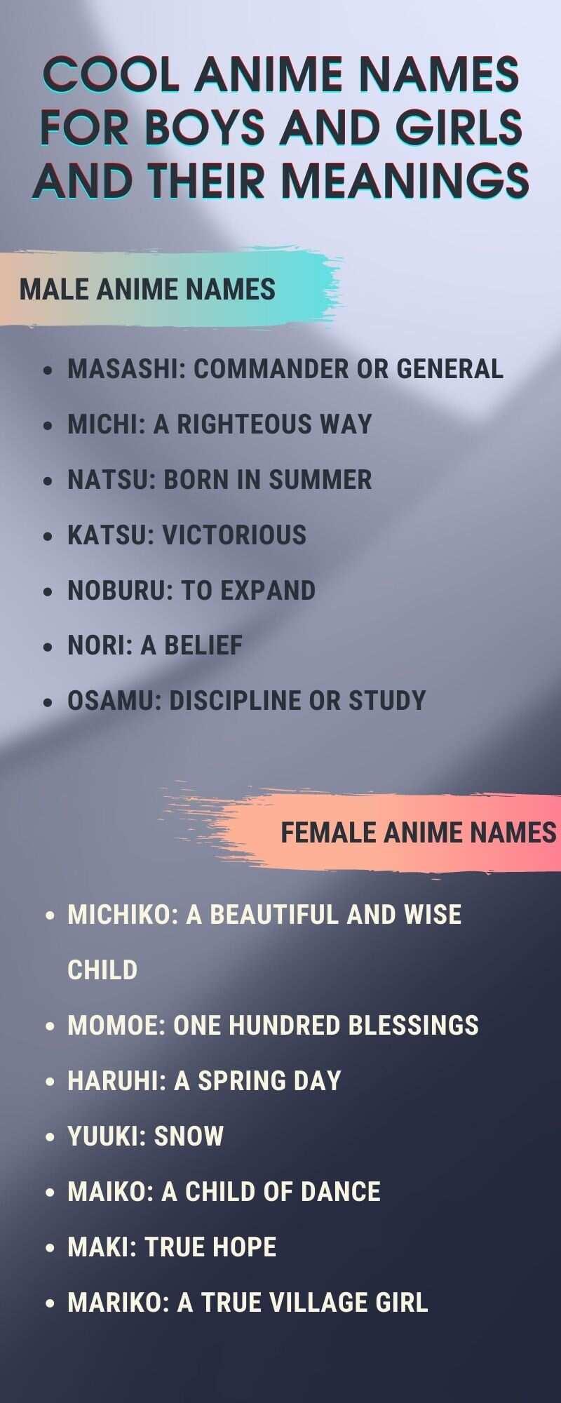 anime names for boys and girls