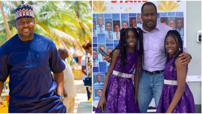 Desmond Elliott strikes cute pose with his daughter and her best friend as they graduate junior school