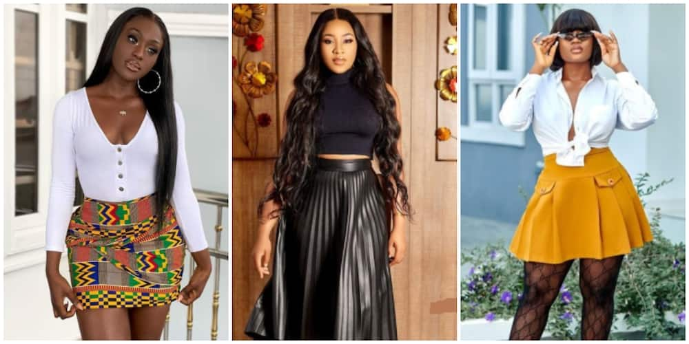 Photos of Nigerian celebrities in different skirts.