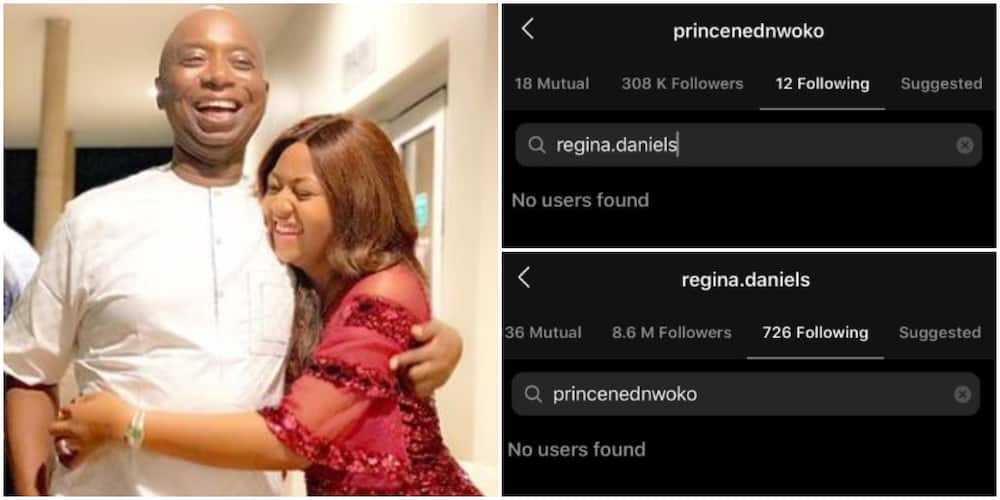 Actress Regina Daniels and husband Ned Nwoko unfollow each other on social media, fans react