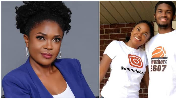 Omoni Oboli's 1st son who is taller than her clocks 18, actress shares cute photo with him
