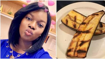 Lady surprised after ordering for fried plantain and getting something different (photo)