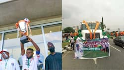 Jubilation as new Nigerian League champions storm the streets in tipper truck to parade topflight title (photos)