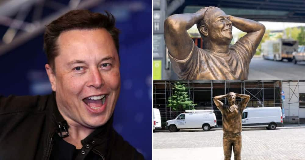 Photos of Elon Musk and the statue.