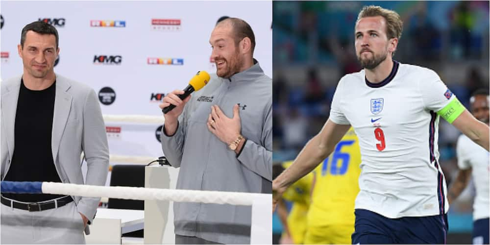 Tyson Fury shades Ukrainian boxer he beat to win heavyweight title after England victory.