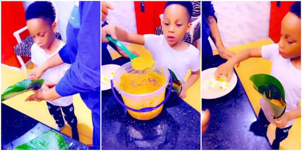 Celebrity stylist Toyin Lawani teaches son how to make moin-moin in new video