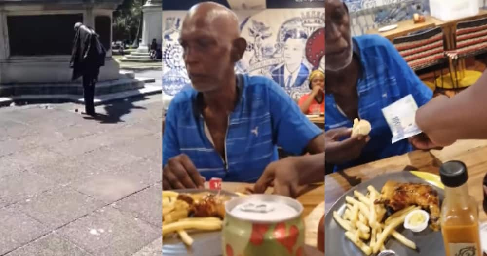 Faceless hero BI blesses man eating from floor with a meal and cash