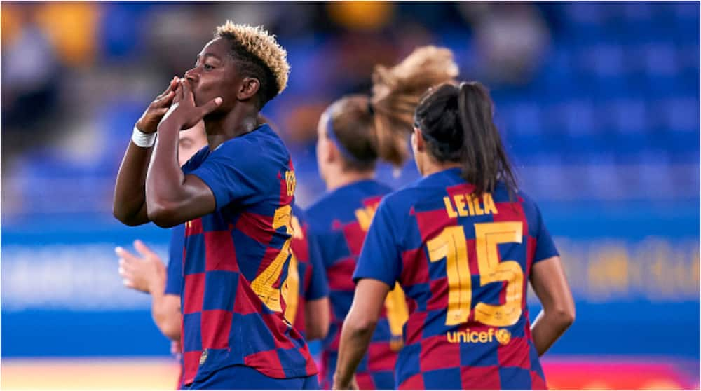 See what Davido with beautiful Super Falcons and Barcelona star 1 year after she begged him for private jet (photo)