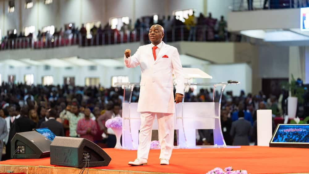 Bishop Oyedepo during a ministration