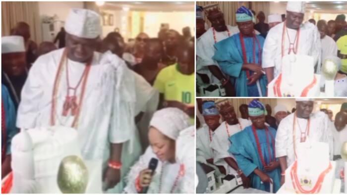 Ooni of Ife emotional as Olori Silekunola kneels, eulogises him in Yoruba before crowd at surprise birthday