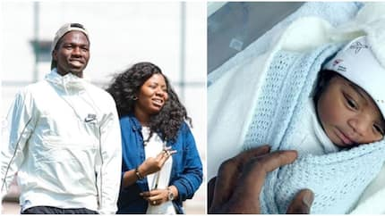 Nigerian footballer Kenneth Omeruo and wife welcome first child (photos)