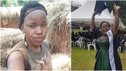 Lady who makes bricks to send herself to school finally graduates, before and after photos warm hearts online