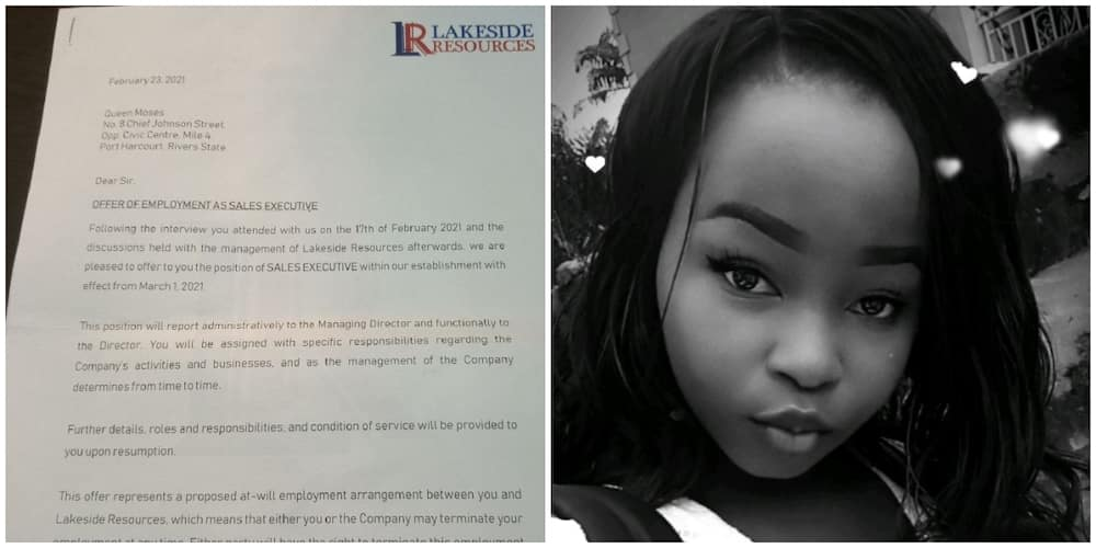 Lady gets job she didn't apply for after months of job-hunting, shares the appointment letter, many react