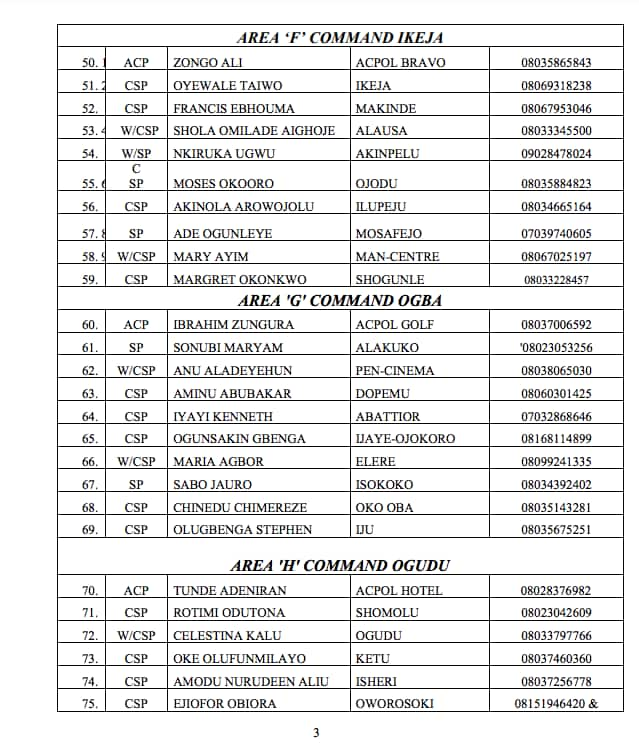 Lagos police command releases phone numbers of DPOs