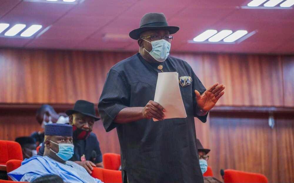 Dickson tackles Adamawa senator for saying Bayelsa's small
