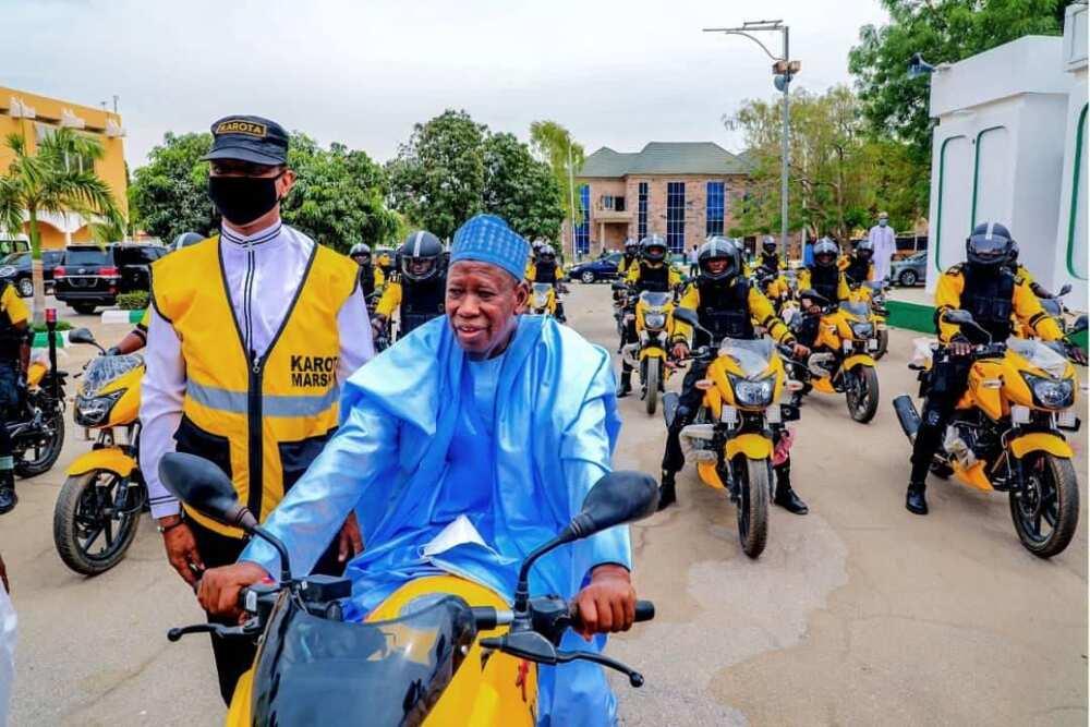 Drama As Nigerian Governor Rides Power Bike in 'Agbada'