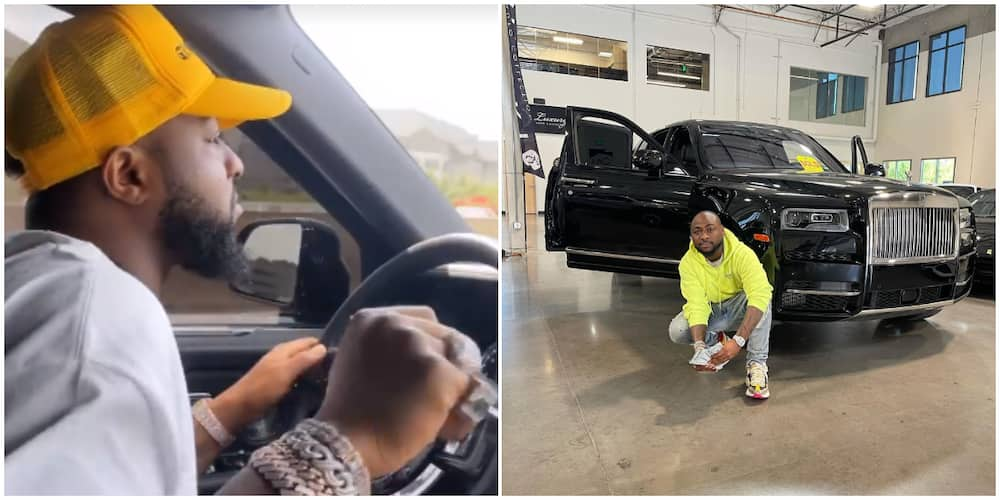 Davido screams like a child as he shows up in his Rolls Royce.