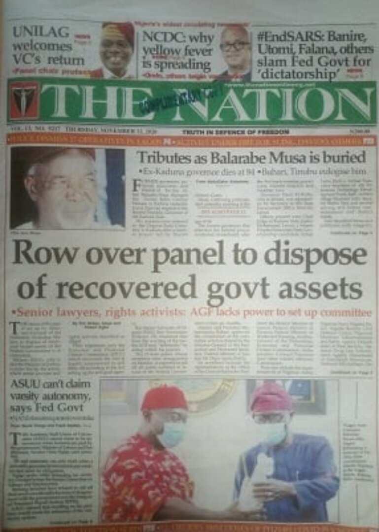 Newspaper review for Thursday, November 12