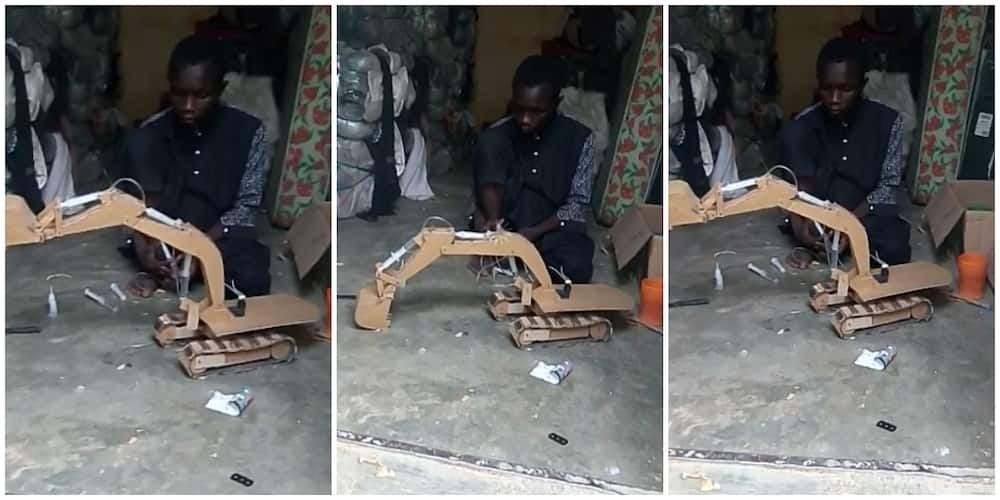 Amazing 15-year-old Nigerian boy who built an excavator that works using cartons and plank