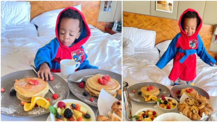 Regina Daniels' son Munir dines like a king as he enjoys breakfast in bed while on London vacation with mother
