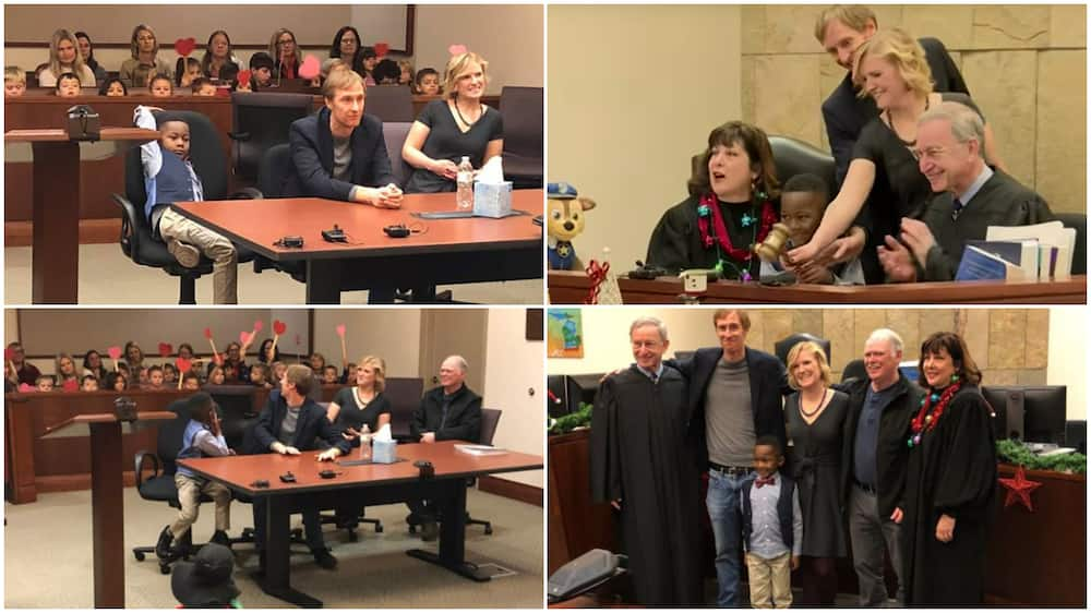 The classmates cheered the boy during the hearing.