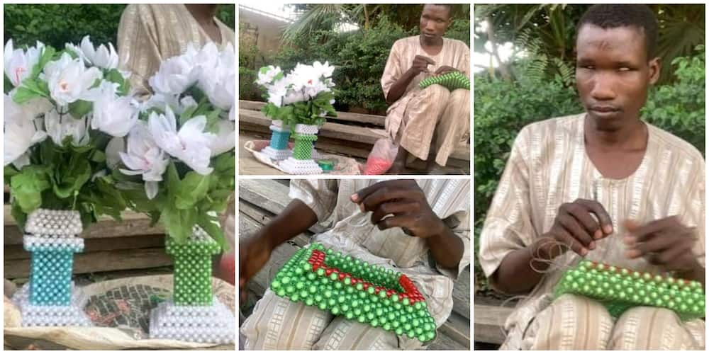 Blind Man Shows Determination and Skill, Makes Beautiful Flower Vases Using Beads in Heartwarming Photos
