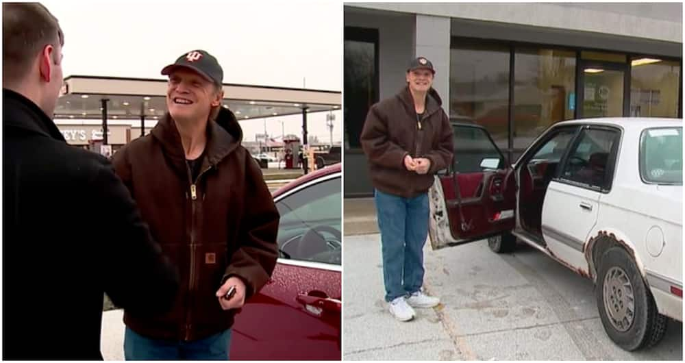 Joy as community gift hardworking man a new car after 31 years of working as a pizza deliveryman