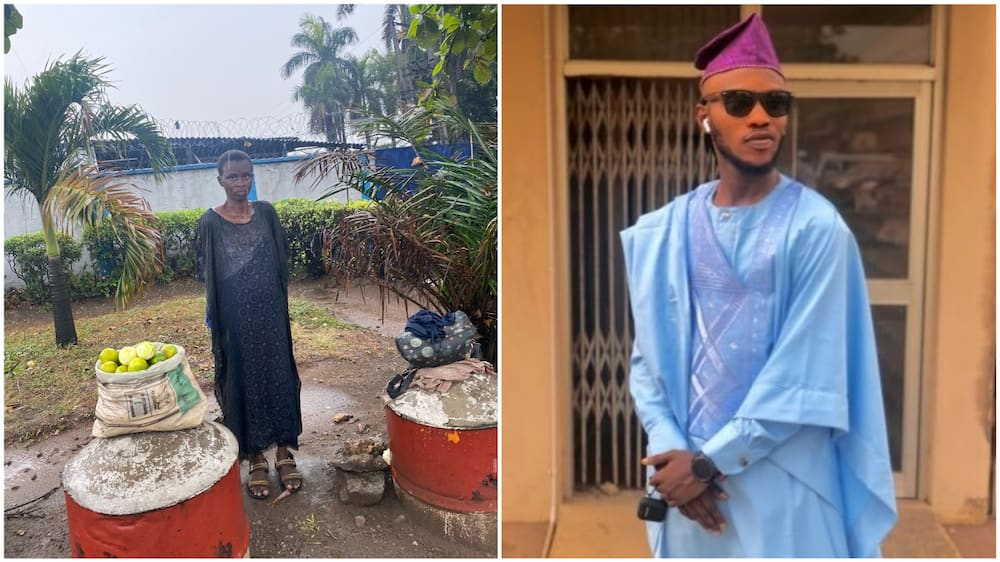 A collage of the orange seller and the Nigerian man. Photo source: Twitter/Okikiola
