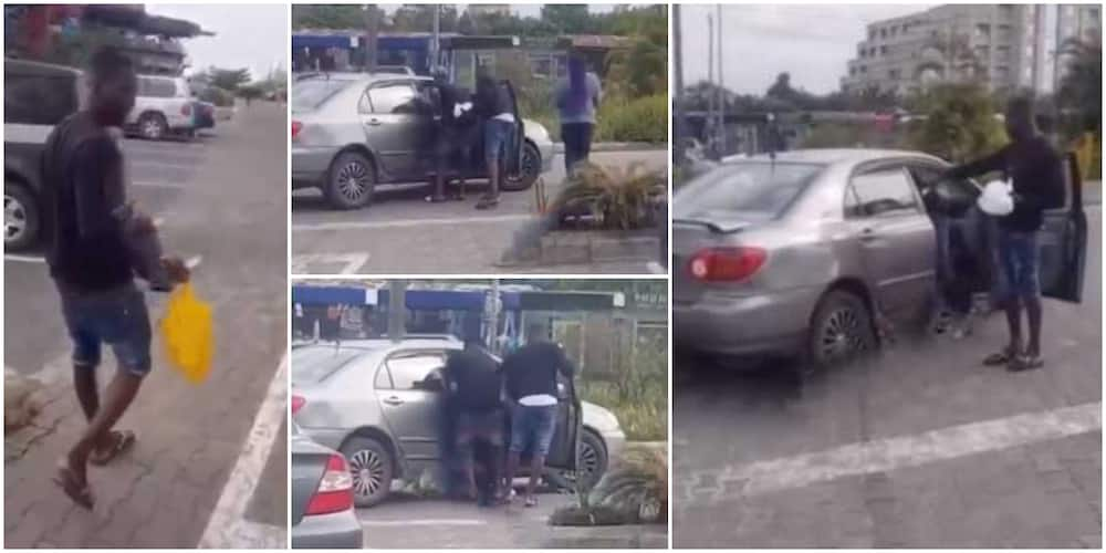 Drama at mall as Nigerian man collects foods he got for ladies after they refused to follow him home, video goes viral