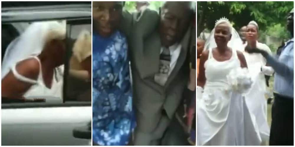 Stunning video captures moment old woman and man walk down the aisle