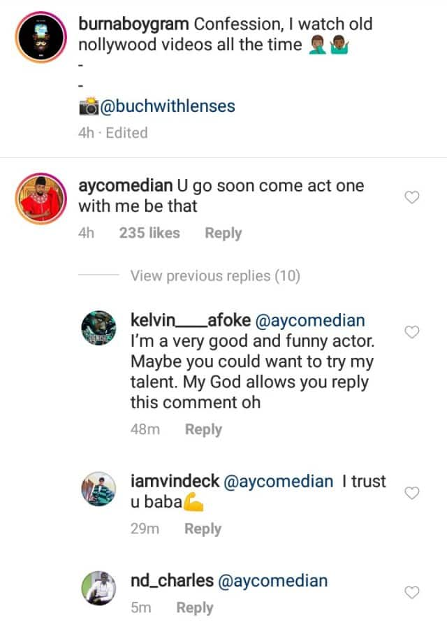 Burna Boy confesses he loves watching old Nollywood movies, comedian AY reacts