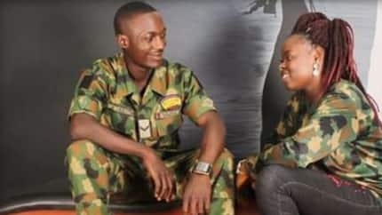 Pre-wedding photos of young Nigerian soldier and his cute fiancee create a love fizz