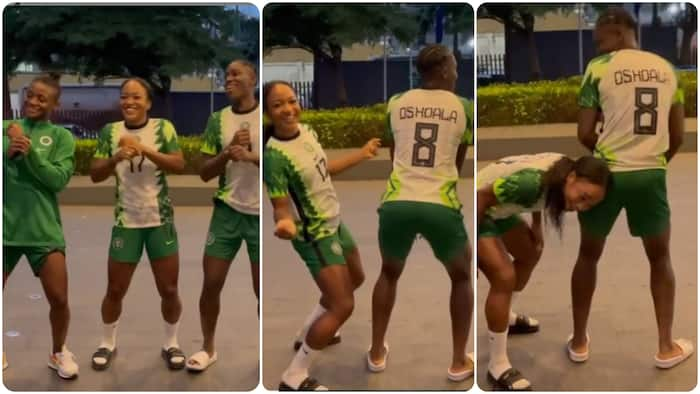 Super Falcons captain Oshoala spotted twerking to popular Nigerian hit song alongside Ordega, 2 others