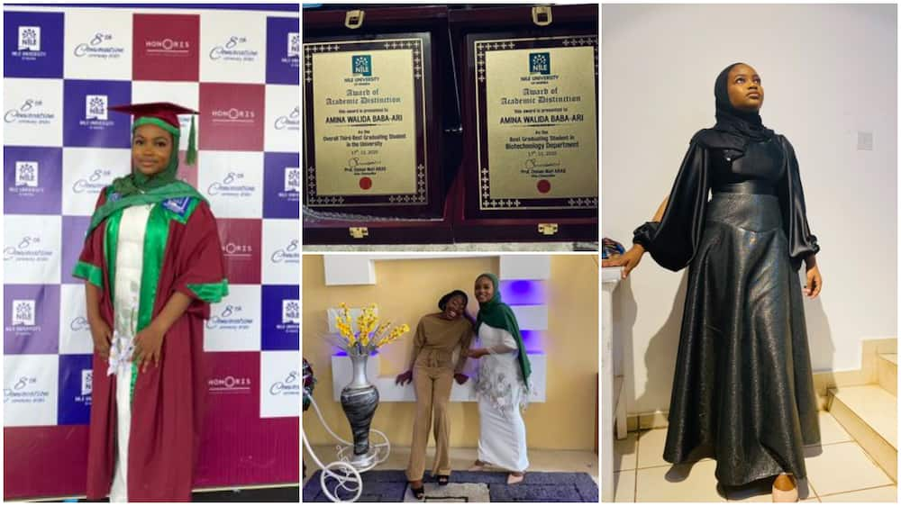 Nigerian lady sweeps all awards, bags first class, photos of her graduation wow people