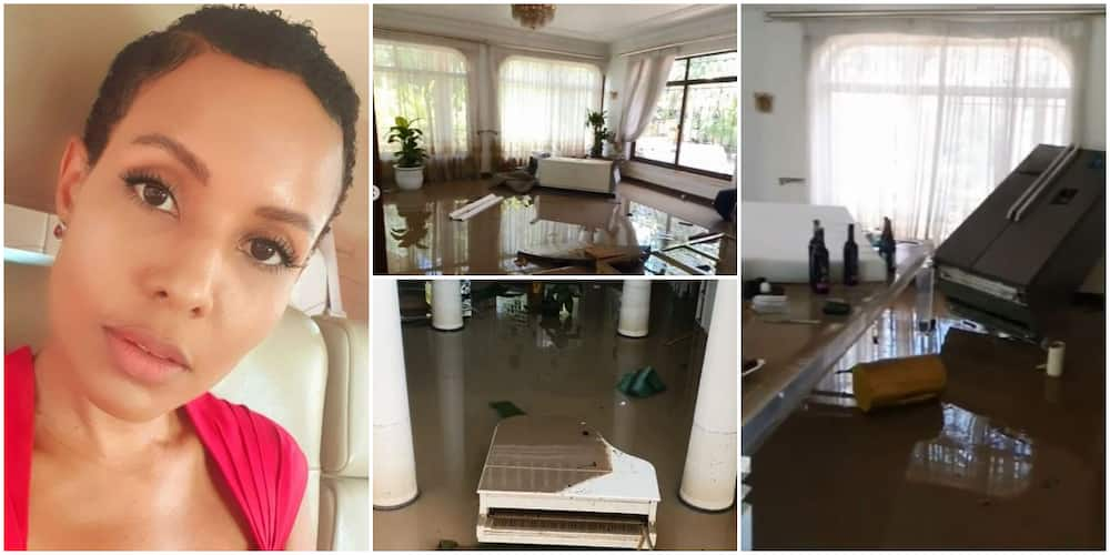 Billionaire wife Jacqueline Mengi left distraught after flood took over her beautiful home (videos)
