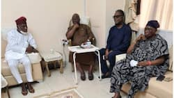 Yinka Odumakin's death: Photo shows Obasanjo looking sad as he pays condolence visit to Afenifere leader, Adebanjo