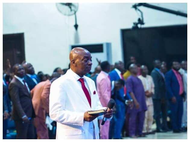 Oyedepo preaching to his congregation