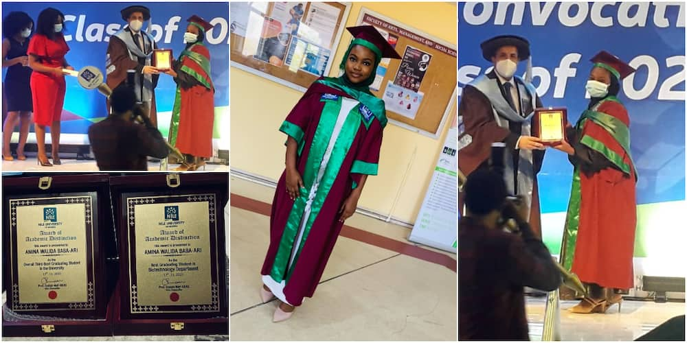 Young Nigerian lady celebrates after bagging 1st class in Biotechnology and winning awards