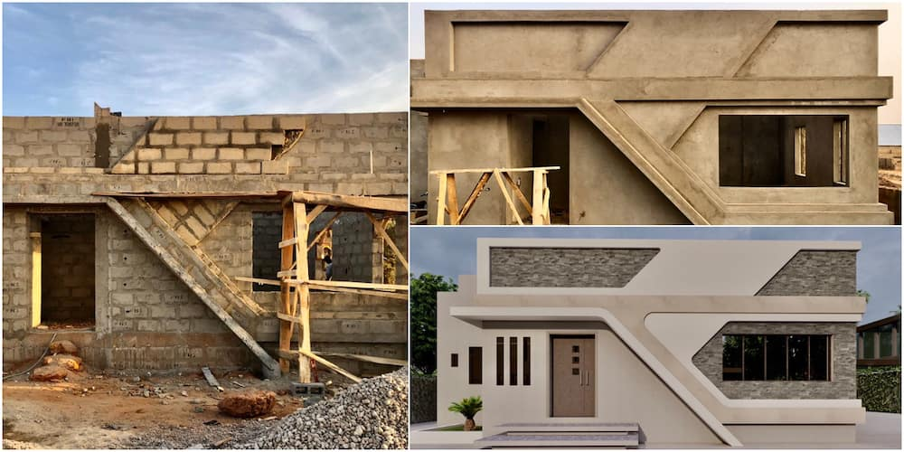 Nigerian man wows social media with amazing architectural design as he shares photos of building project