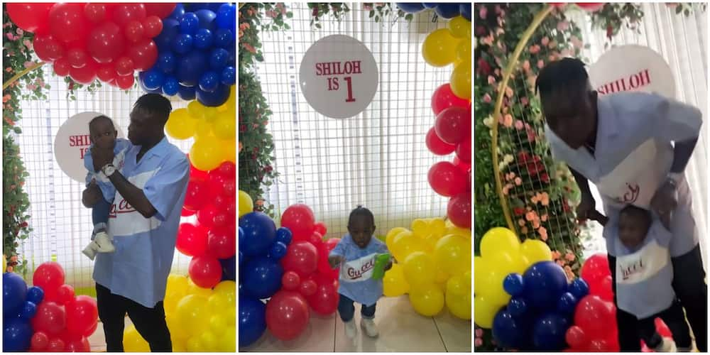 Rapper Zlatan Ibile Spotted Doing Daddy Duties as He Attends First Birthday of His Son Shiloh