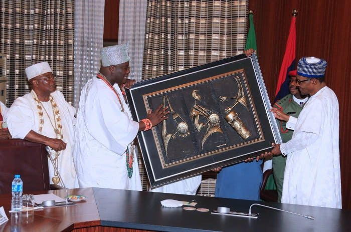 President Buhari with some south-west monarchs at the State House. Photo source: The Nation