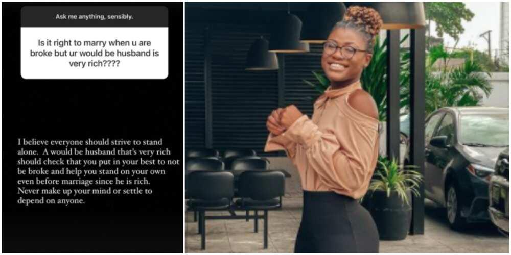 Do not get married as a broke woman even if your fiance is rich, BBNaija's Alex advises single women