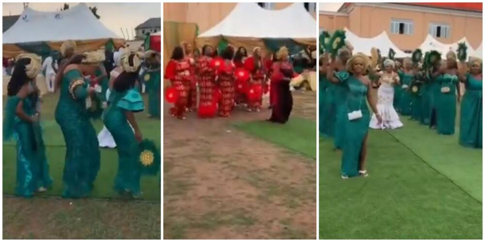 Nigerian Bride 'Scatters' Her Wedding with Choreographic Dance with Bridal Train, Video Causes Stir