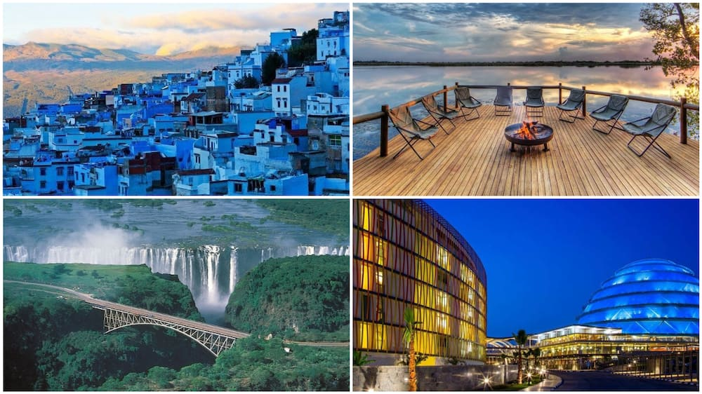 A collage of beautiful places in Rwanda, Morocco, Zambia, and Botswana. Photos sources: Medium/CultureTrip/WorldNomads