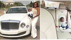 Like a boss! Linda Ikeji shows off son Jayce as he sits in his N120m Bentley (photos)
