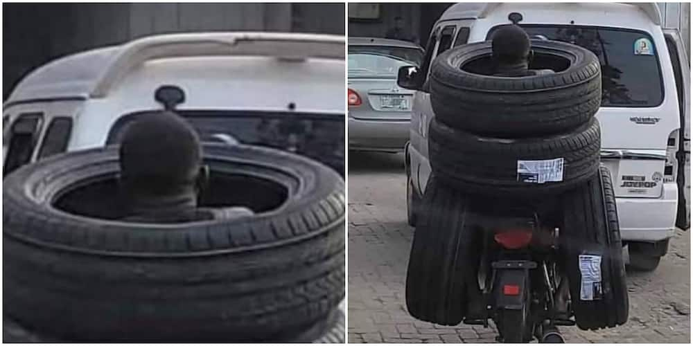 Wetin We no go See for Lagos? Nigerians React as Man Rides Motorcyle Carrying 4 Tyres Together