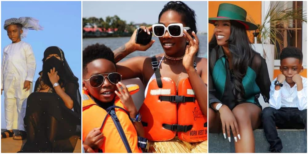 X times Tiwa Savage and son JamJam have stepped out looking adorable