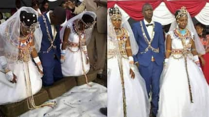Kajiado man leaves Kenyans in awe after marrying 2 wives in one fancy wedding ceremony (photos)