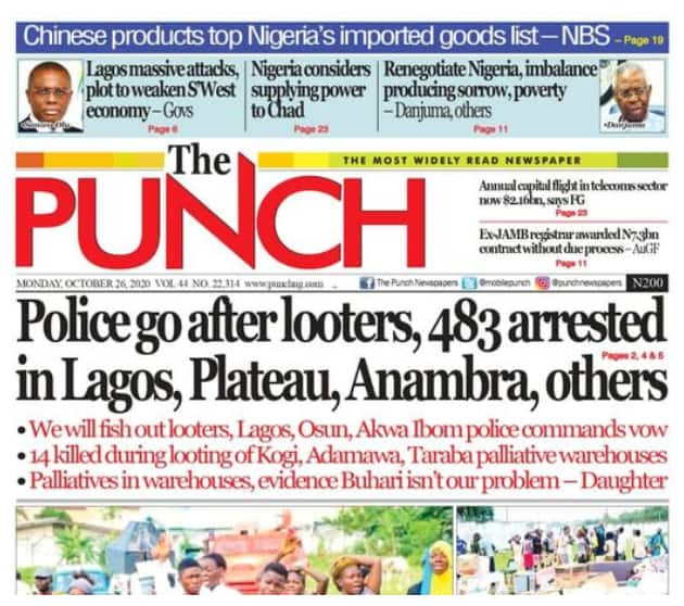 Newspapers review for Monday, October 26: Southwest governors visit Sanwo-Olu