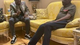 Lagos state governor Babajide Sanwo-Olu visits Tinubu in London